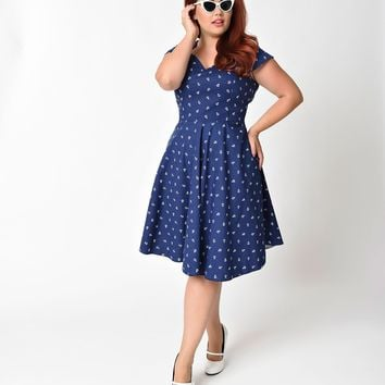 Plus Size 1950s Style Navy & White Anchor Cap Sleeve Swing Dress