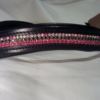 Bling English Curved Full Size Browband Pink and Black Rhinestone