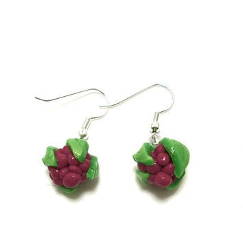 Sweet Summer Raspberry Earrings Polymer Clay by moonknightjewels