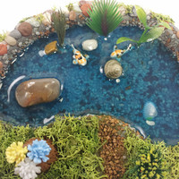 Fairy garden miniature pond. Perfect for fairy garden, terrarium, or even desktop decoration.