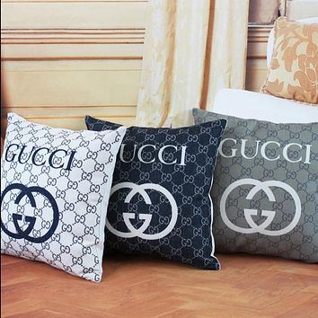 GUCCI Cotton and hemp pillow case with core cushion for back - back car sofa pillowcase