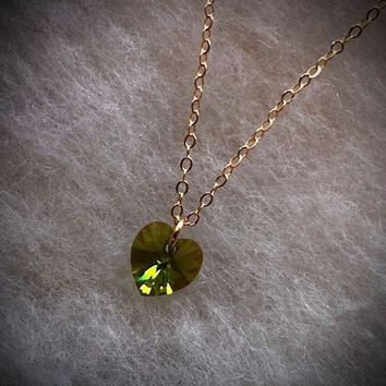 Tiny Heart Necklace Woodland Moss  Swarovski Crystal Heart Pendant Golden Sunrise Green Crystal Heart Aurora Borealis Flower Girl Gift
