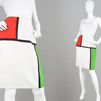 Vintage 80s Mondrian Skirt Colorblock Skirt White High Waist Skirt Space Age Futuristic Skirt Geometric Print 1960s Style Skirt Art Print