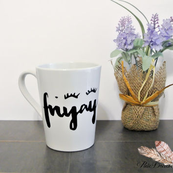 Friyay Coffee Mug - 14oz Coffee Mug - Eyelashes - Girly Mug - Funny Coffee Mug- Vinyl Mug - Cute - Coffee Cup - Makeup lover gift idea