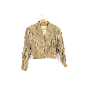 80s crop fringe suede leather jacket - vintage 1980s chia - cropped fit - fringed - brown - southwestern - womens medium