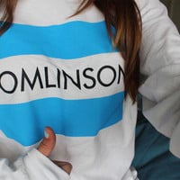 TOMLINSON sweat sweater Tumblr blanc unisexe  women grey black white sweatshirt tumblr graphic size S M L one direction louis