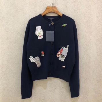 Louis Vuitton LV Embroidered Badge Dark Blue Cashmere Long Sleeve Cardigan Sweater