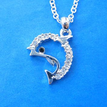 Simple Dolphin Shaped Sea Animal Pendant Necklace in Silver with Rhinestones