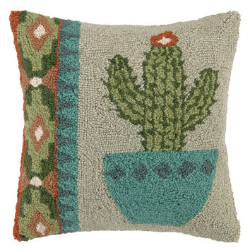 Single Cactus Vase Hand-Hooked Pillow