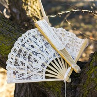 Antique Lace Hand Fan, Antique Lace Fan, Antiqued Lace Hand Fan