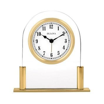 Bulova Colburn Executive Desk Alarm Clock - Floating White Dial - Gold-Tone
