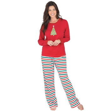 2PCS Autumn Winter Adult Christmas XMAS Women Pajamas Set Long Sleeve Sleepwear mujer Plus Size Amazing New 2016