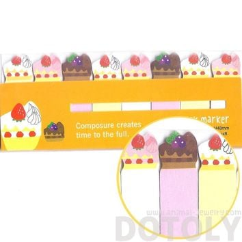 Colorful Strawberry Cake Food Themed Memo Post-it Index Bookmark Tabs