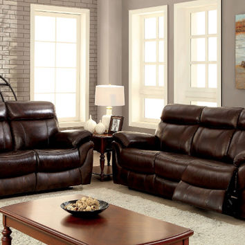 Furniture of america CM6983 2 pc kinsley brown top grain leather match sofa and love seat with recliner ends
