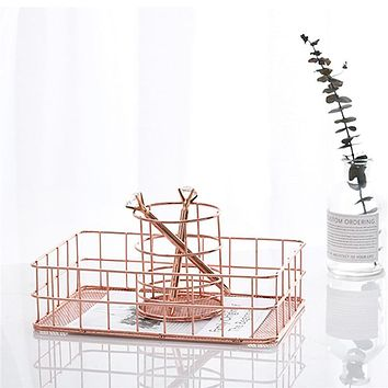 Pastoral Style Kitchen Dry Food Fruits Display Basket Office Supplies Organiser Rose Gold Wire Mesh Storage Household Decoration