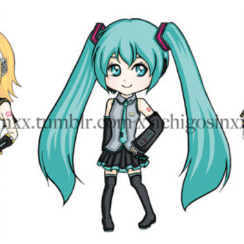 Kawaii Anime Manga Cartoon Vocaloid Sticker Set 1- Hatsune Miku Kagamine Twins Len Rin