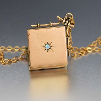 Victorian Gold Engraved Star Opal Locket Necklace