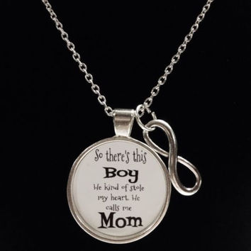 Infinity Boy Stole My Heart He Calls Me Mom Son Mother's Day Gift Necklace