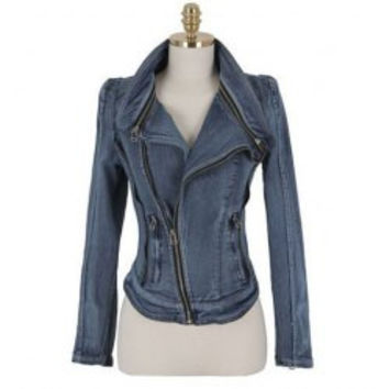 Zippers Embellished Long Sleeve Solid Color Denim Women's Jacket