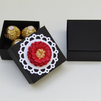 12 Black - Red Paper Flower Wedding Favor Boxes - Custom Favor Boxes - Bridal Shower/Bridesmaids Favor Boxes - Gift Favor Boxes 3 X 3 X 1.5