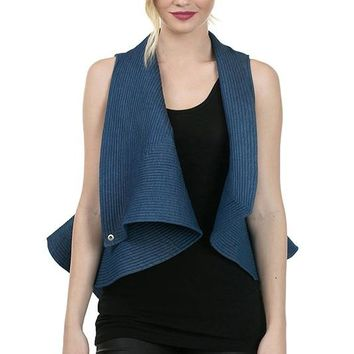 Quilted Denim Flare Vest