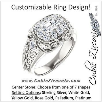 Cubic Zirconia Engagement Ring- The Vanessa (Customizable Halo Style with Round Prong Side Accents and Filigree)