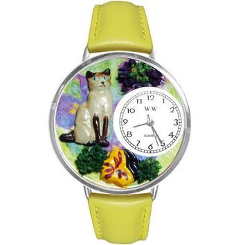 Siamese Cat Watch in Silver (Large)