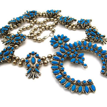 Faux Squash Blossom Huge Statement Necklace -  Massive Blue Faux Turquoise Pendant - Vintage 1970s Costume Jewelry