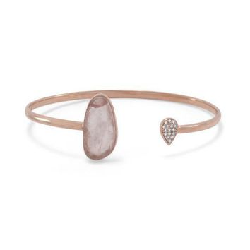 Rose Quartz and CZ Rose Gold Cuff Bracelet