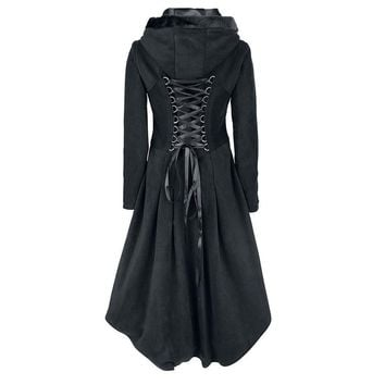 Gothic Asymmetric Coat Vintage Lace Up Autumn Winter Women Black Trench Outerwear Casual Dark Street wear Retro Goth Coat