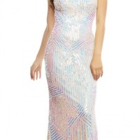 Iridescent Sequin Halter Prom Dress by Mac Duggal