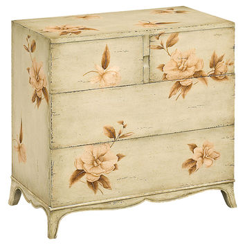 "Aurelia 31"" Painted Floral Chest, Olive, Chest of Drawers"