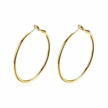 18K Yellow Gold Filled 25mm Small Round LIGHT WEIGHT Flat Hoop Earrings