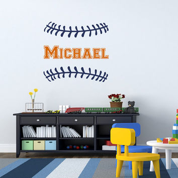 Baseball Wall Decal Boy Name Initial Personalized Monogram Wall Decals Nursery Baby Kids Boys Teens Room Playroom Sports Wall Art Decor M043