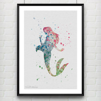 Ariel Little Mermaid Watercolor Art Print, Baby Girl's Room Nursery Wall Art, Minimalist Home Decor, Not Framed, Buy 2 Get 1 Free! [No. 23]
