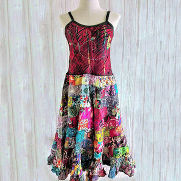 Patchwork Dress Boho chic Hippie festival clothing embroidered Unique funky Vest  Embellished dress Vegan fashion Handmade gift women art