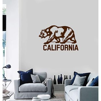 Vinyl Wall Decal California Grizzly Bear Flag USA State Home Interior Stickers Mural (ig5811)