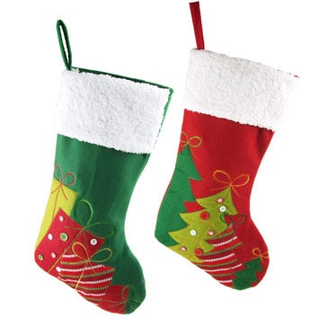 Pine Tree Presents w/ White Cuff Christmas Stockings, Red/Green, 20-Inch, 2-Piece