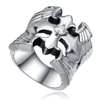 Stainless Steel Wing Cross W. Cubic Zirconia Ring