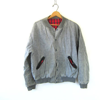 25% OFF SALE grey Hard Rock Cafe Denim Jacket 90s Distressed Slouchy Hipster 1990s London New York Novelty Baggy Gray Snap Up Coat size M L