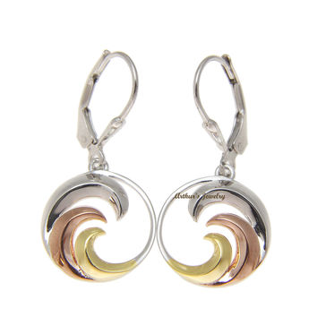 925 Sterling Silver Tricolor Hawaiian 15mm Ocean Wave Leverback Dangle Earrings