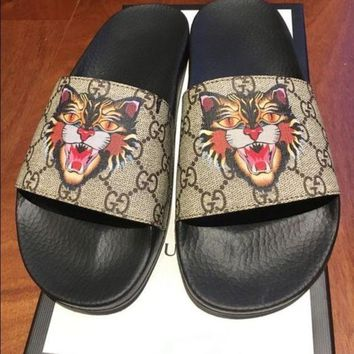 Gucci Fashion Casual Women Tiger Print Sandal Slipper Shoes Apricot G