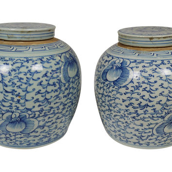 Chinoiserie Jars w/ Lids, Pair