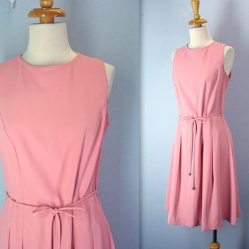 vintage 80s dress / peachy pink scooter dress / small