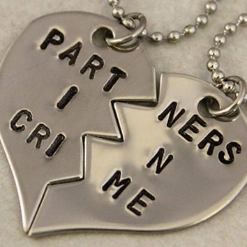 Partners in Crime Hand Stamped Necklaces - BFF Split Heart Necklaces, Best Bitches Jewelry - Best Friend Gift - Stainless Steel