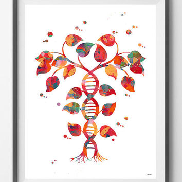 DNA tree of life watercolor print Dna double helix abstract genetic print Tree of life with DNA trunk poster Dna shaped tree biology art