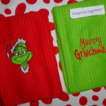 Grinch Towel Set Embroidered -Santa & Merry Grinchmas- Bright Grinchy Green - Shiny Embroidery Threads Adorable