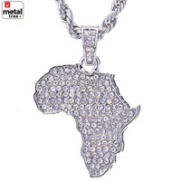 """Jewelry Kay style Men's Hip Hop Silver Plated Iced Out African Map Pendant 24"""" Chain Set HC 1126 S"""