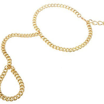 3 Pieces of Goldtone Plain Adjustable Finger Ring and Slave Hand Chain Bracelet One Size Fits All Poparazzi