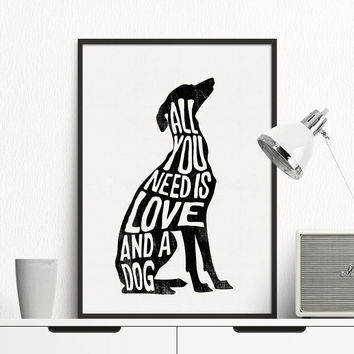 Italian Greyhound - Greyhound Poster Dog Minimal Wall Art Print Canvas Minimalist Poster Home Decor Frames Not included